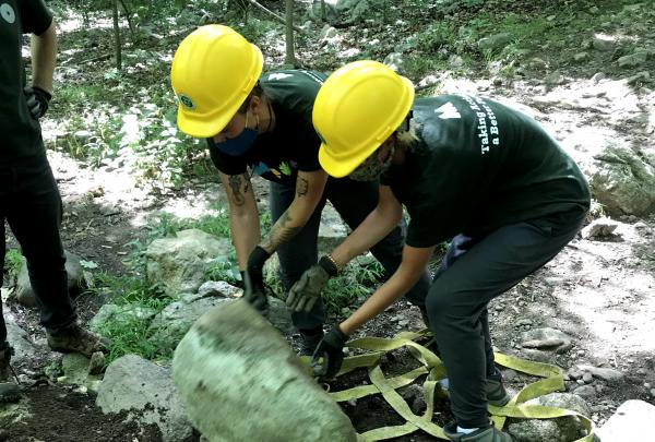 MEVO Trail Crew at Ramapo Mountain SF Moving Rocks. Photo by Billy Ditmas.
